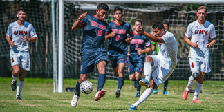 Men's soccer team in action