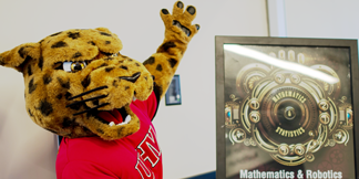 jaX the Jaguar at the Mathematics & Robotics Awareness Day at UHV